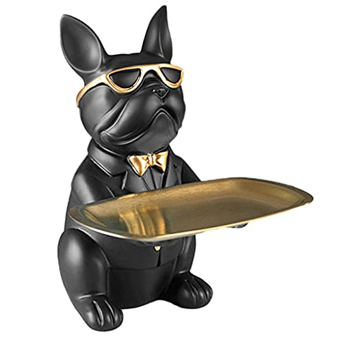 WEYCNCRIUF Bulldog Holding Storage Tray, Resin Cute French Bulldog Sculptures Keys Holder Candy Dish Jewelry Earrings Holder Bulldog Statue Figurines for Home Table Desk Decor