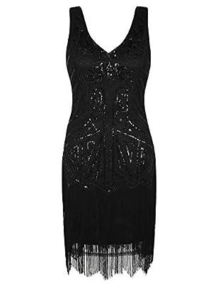 kayamiya Women's Flapper Dresses 1920s Sequins Deco Gatsby Cocktail Dress