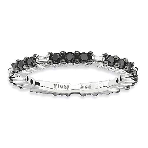 Anillo de plata de ley 925 chapado en rodio con expresiones apilables de 2,25 mm, anillo de diamante negro pulido, tamaño P 1/2 joyería regalos para mujeres