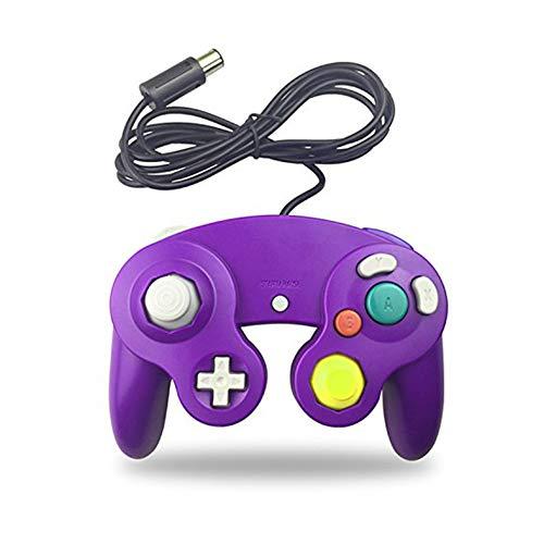 LLQ Contrôleur Classique Poignée de Cube de Vibration câblée Classique Compatible avec Le Nintendo Gamecube (Violet)
