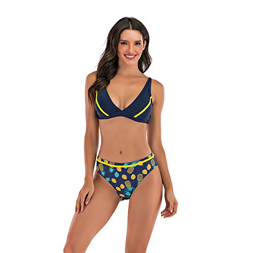 Sweetneed chida yi Bikinis para Mujer Push up con Relleno bañador Bikini con Estampado Bra Tops y Braguitas Bikini Talla Grande Bañador Vacaciones Halter Bikini (H2100-Azul Tibetano, L)