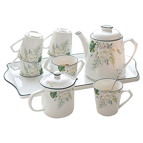 Simple estilo pastoral cerámica té conjunto Applique tarde té café cerámica agua conjunto