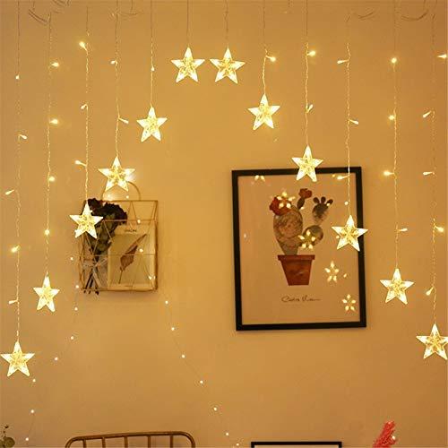 Unbekannt Weihnachten Lichterkette Star Vorhang Lichter Fenster Lichterketten Vorhangschnur mit 16 Sterne Lichter