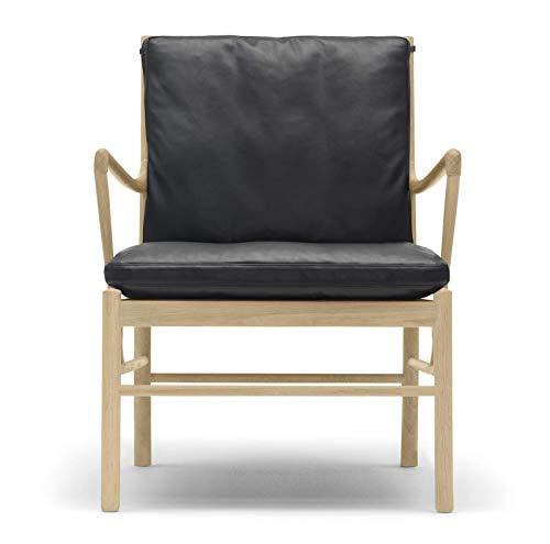 Carl Hansen OW149 Coloniale stoel, geolied eiken/zwart leer