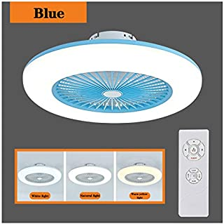 KHXJYC Ventilador de Techo con luz LED y Control Remoto Regulable, Velocidad del Viento Ajustable, Ventiladores de Techo Ultra silenciosos, lámpara de bajo Consumo para Sala de Estar,Azul