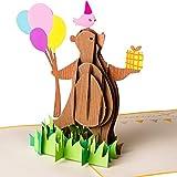 3D Geburtstagskarte - Happy Birthday Party Bär mit Luftballons - Pop up Karte, Grußkarte, Glückwunschkarte Geburtstag, Grußkarte, Geschenkkarte, Happy Birthday Card, Bärchen