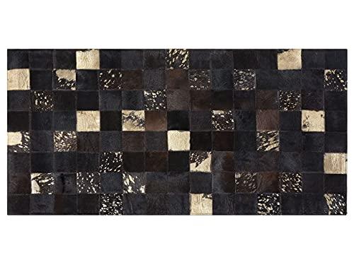 Designer Lederteppich Patchwork Rechteckig Braun Gold 80 x 150 cm Bandirma