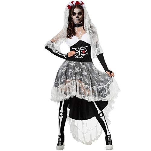 dressforfun 900416 - Disfraz de Mujer Novia Espeluznante, Vestido Mullet con Estampado de Esqueleto y de corazn (XL | No. 302008)