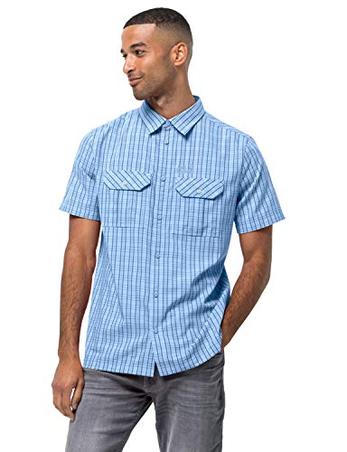 Jack Wolfskin 1401042-7817005 Thompson Camisa de Manga Corta para Hombre, Secado Rápido, Cuadros de Agua Frescos, XL