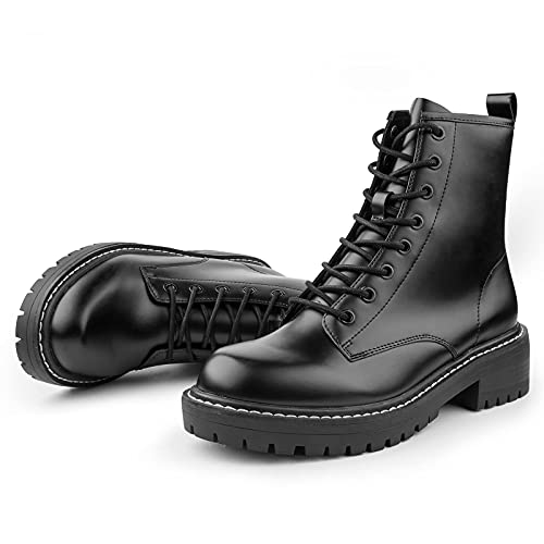 ICHIGO Women's Fashion Ankle Booties Causal 8-Eye Side Zipper Lace-up Combat Boots(Black 5.5)