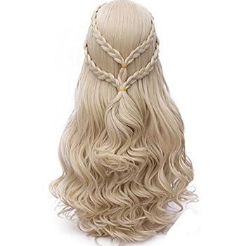 Probeauty Long Braid Curly Women Halloween Cosplay Wigs +Wig Cap  Blonde Curly Braid B