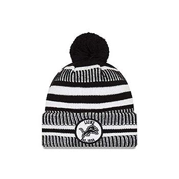 New Era Detroit Lions 2019 Black & White Sideline Sport Knit Winter Pom Knit Hat Cap