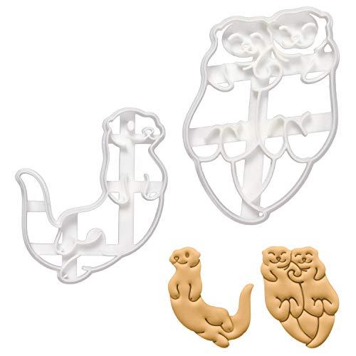 2er Set Otter Ausstechformen (Formen: Schwimmender Seeotter & Händchenhaltende Otter), 2 Teile, Bakerlogy