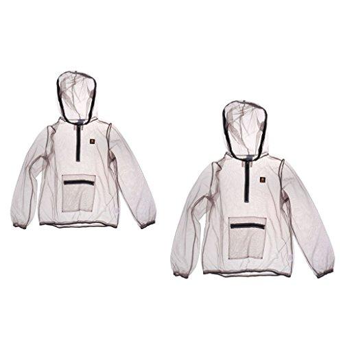 2 Stück Anti-Moskito Moskito Schutz Jacke Anti-mücken Mesh Kapuzenbekleidung Angeln Für Camping,Angeln, Gartenbau Outdoor (X+XL)
