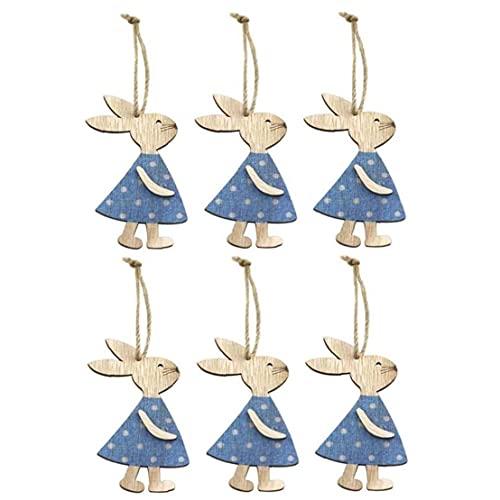 NaisiCore Los Conejos de Pascua de Madera de Escritorio Colgante Conejito Arte de Madera Colgante de Madera Rebanada Juguete para el hogar Tienda decoración de la Oficina Azul 6PCS