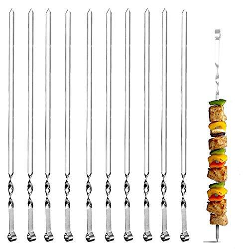WPC Brands Essentialstools Grillspieße, Edelstahl, flach, wiederverwendbar, Metall, für Grillen, Party, Set mit 10 Stück, 38 cm, Küchenwaren, komplettes Set (Farbe: Silber)