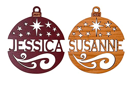 Personalized Christmas Ornament 2021 Solid Wood Starry Nights Design