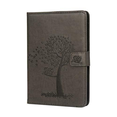Vogu'SaNa eBook Reader Hülle Kompatible für Kindle Paperwhite 1/2/3 Case Leder Tasche Schutzhülle Flip Cover Skin Eule Baum Muster Abdeckung Klapphülle Ständer Karten Fächer Magnet Deckel Schale-Grau