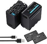 Vemico NP-F970 Batteria di Ricambio 2x7800mAh NP F960/F980/F530/F550/F570/F730/F750/F770/F930/F950 Batteria serie 4 LED Cavo micro USB per HDR-AX2000E/DCR-VX2100E/FDR-AX1E/HXR-NX3 Batteria Fotocamera