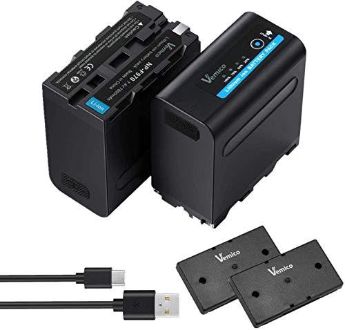 Vemico NP-F970/F960 Baterías de Reemplazo 2x7800mAh NP F980/F530/F550/F570/F730/F750/F770/F930/F950 Batería Serie 4 LED Light Micro USB Cable para HDR-AX2000E/DCR-VX2100E/FDR-AX1E/HXR-NX3