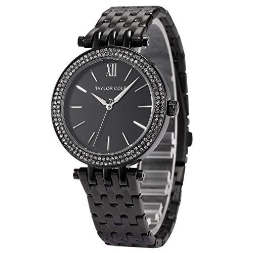 Anillo de Diamantes Reloj con Calendario Cinturón de Acero Reloj de Cuarzo Reloj Simple Reloj de Pulsera Informal Impermeable para Hombres y Mujeres (Negro)