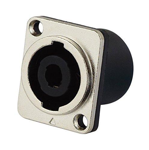 Blanko 4250019128585 PA Lautsprecher Einbaubuchse 4 Pins eckig mit Aluminiumblende