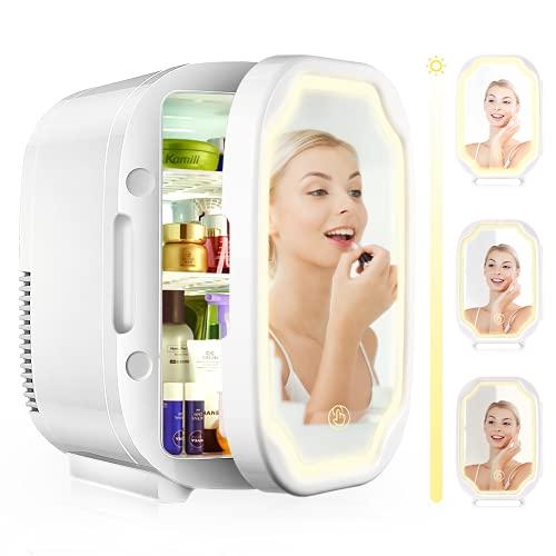 EZGETOP 8L 2 in 1 Minikühlschrank Tragbare 220V/12V Helligkeit Einstellbar Make-up-Spiegel, 8 Dosen 330 ml/4 Flaschen 600 ml Auto und Haushalt (Weiß)