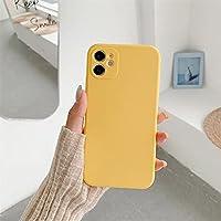 For iPhone 11 PRO MAXケースの正方形の液体シリコーンケースの柔らかい耐スクラッチマイクロファイバーライニング、ウルトラスリム耐衝撃保護カバー-iPhone 11の場合_レモンイエロー
