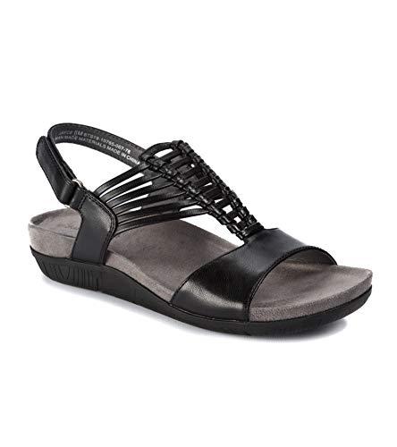 BareTraps Womens Callia Leather Open Toe Casual Platform Black