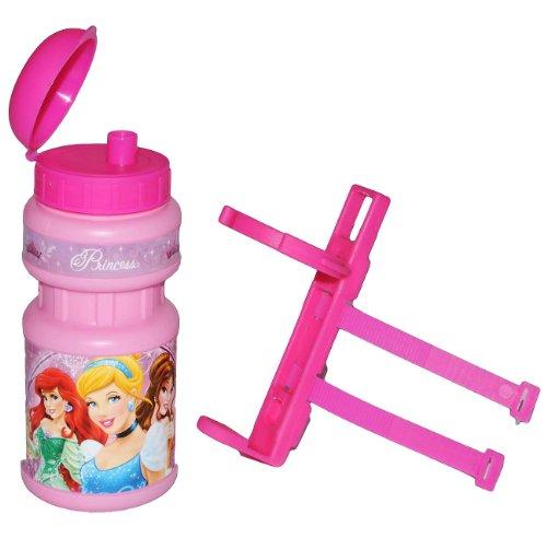 alles-meine.de GmbH Fahrradtrinkflasche Disney Prinzessin rosa mit Halterung - Halter Fahrradflasche Trinkflasche für Kinder Fahrrad Roller Dreirad