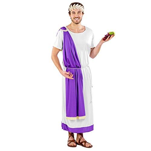 dressforfun Costume da uomo - Imperatore romano Marco Aurelio | Lunga toga con orlo viola | Fascia corona d'alloro dorata (XL | no. 300217)