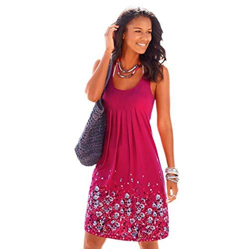 swiftt Damen Sommerkleid Strandkleid Gedruckt Lose Casual Kleid Ärmellos Rundkragen mit Blumenmuster Blumenprint Knielang in 10 Farben