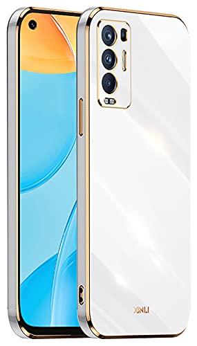 DOINK Handyhülle für Oppo Find X3 Neo Hülle, Bunte & Glänzende TPU Silikon Hülle mit Goldenem Rand Design - Weiß