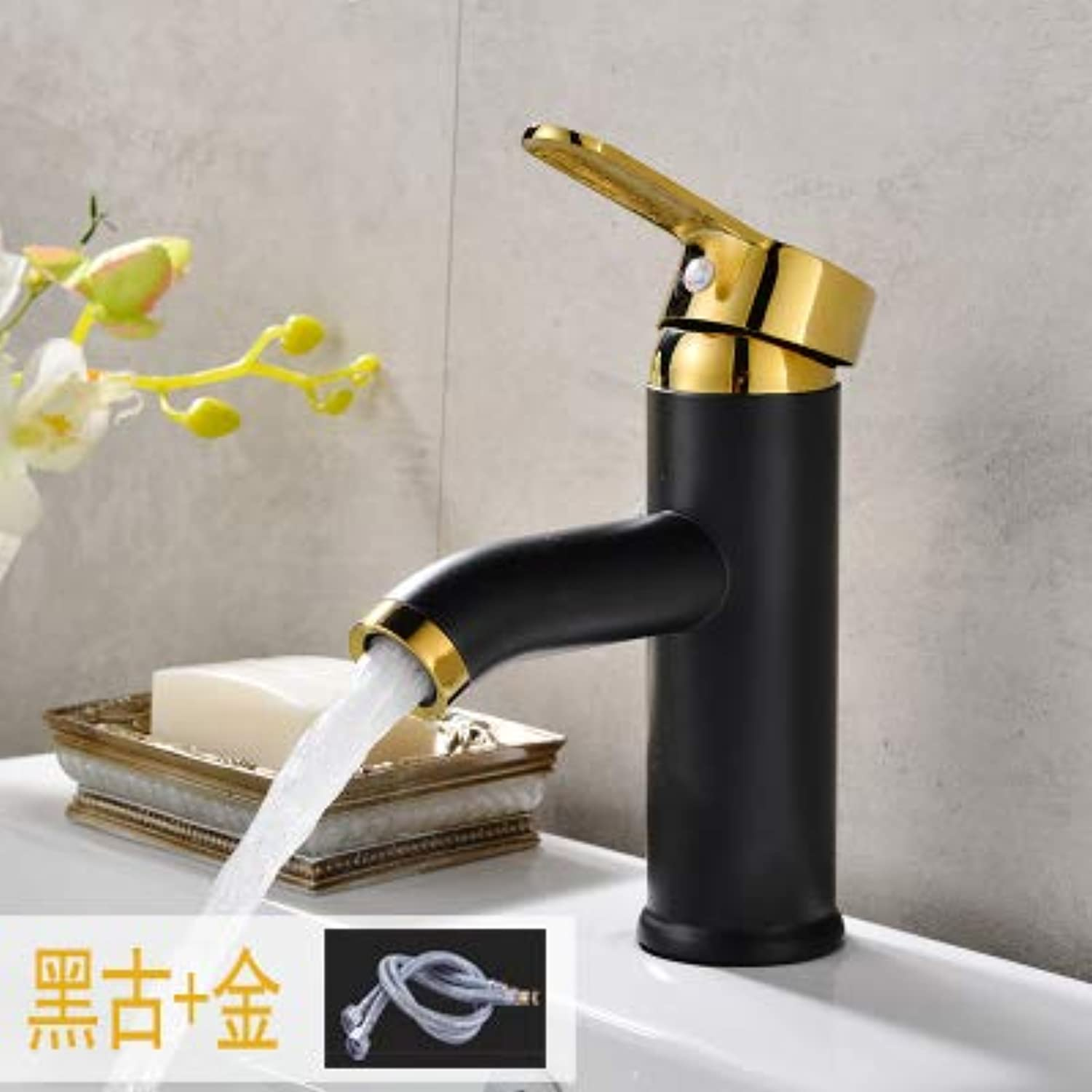 JWLT Faucet European Style Black Water Faucet Art Basin Mixing Valve Single Hole heightened Bathroom Cabinet Basin Cold hot tap Switch,Black and golden Elegant 17 high 60 Long Tube
