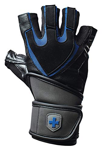 Harbinger Training Grip Wristwrap Weightlifting Gloves with TechGel-Padded Leather Palm (Pair), Large