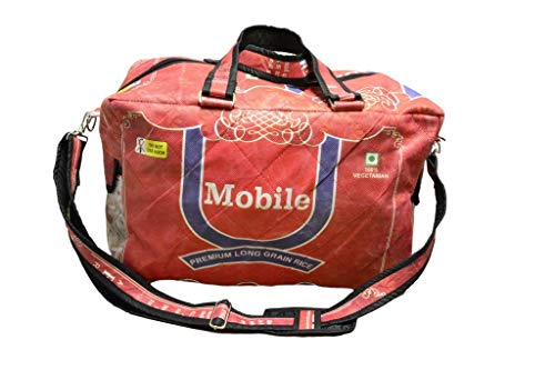 FAIR-Trade Sporttasche Handmade IN Nepal | Robustes UPCYCLING Material AUS 100% REISSACK | by Frida Feeling ECOSTYLE | Weekender Gym-Bag | Reise-Tasche | ORANGE