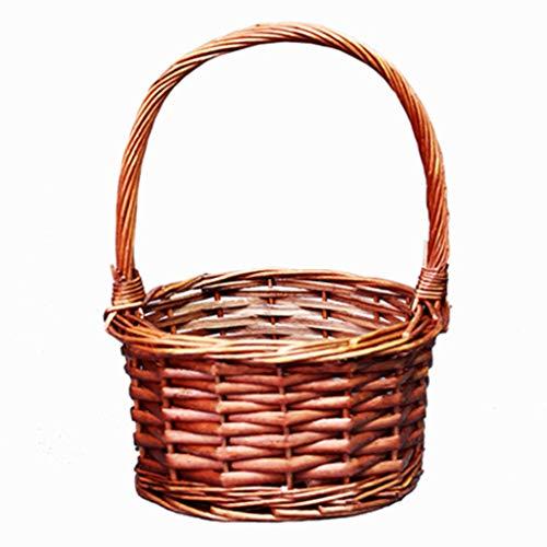 Tissés à la main de copeaux de bois de stockage corbeille de fruits et de légumes panier de pique-nique panier Panier de rangement main boîte-cadeau (Color : C, Size : S)