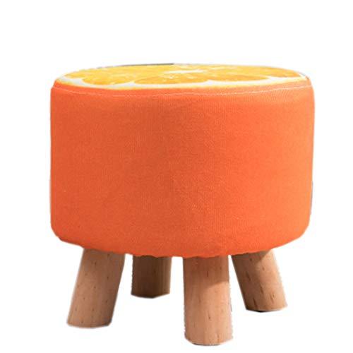 ZYLE Taburete de Madera Maciza Sofá Flojo Taburete Redondo Solo Cambio de Tela Zapatos Taburete Sala de Estar Porche Silla pequeña Patrón de Frutas 28 × 28 cm (Color : Orange)