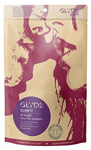 GLYDE Slimfit Premium Small Condom - 36 Snugger Fit Condoms - Non Toxic, Natural and Organic