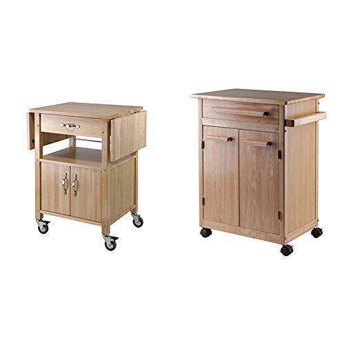 Winsome Wood Drop-Leaf Kitchen Cart & Wood Single Drawer Kitchen Cabinet Storage Cart, Natural