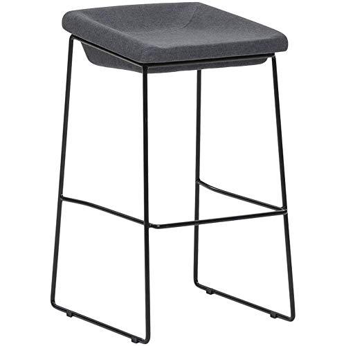 JIEER-C campingstoel barstoel van ijzer Art moderne eenvoud moderne barkruk kruk kruk van badstof design gewicht lager 150 kg hoogte 75 cm (kleur: groen) Grijs