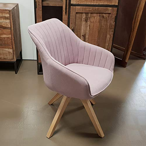 Lifestyle For Home Stuhl Sessel Swivel Retro Polsterstuhl Esszimmerstuhl mit Massivholz Gestell drehbar (Altrosa)