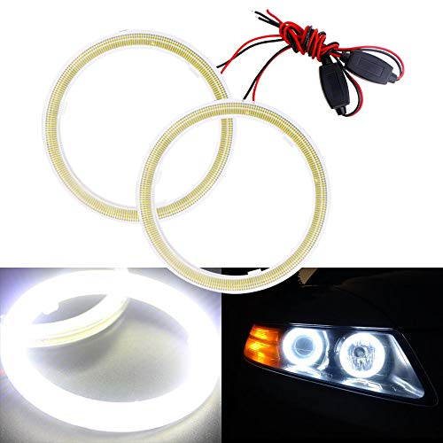 EverBrightt 1-Pair White 80MM 63SMD COB LED Angel Eyes Halo Ring Bulb Car Daytime Running Light with Shell and Resistors