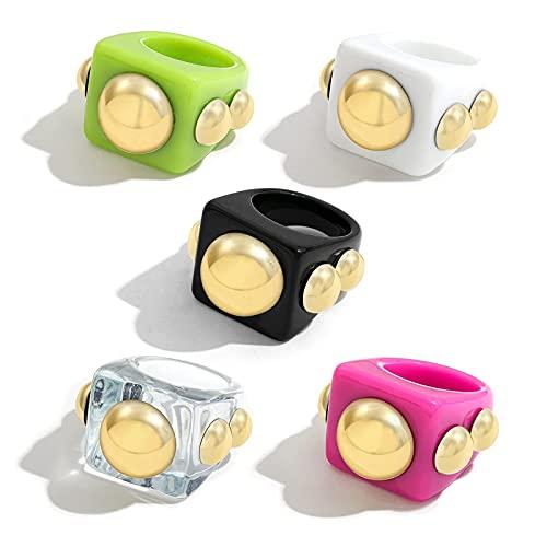 Anneau acrylique en résine rétro épaisse de style Y2K, anneau de doigt coloré vintage, anneaux de bande de strass pour les femmes, ensemble de cadeau de bijoux en plastique de bagues (5 pièces)