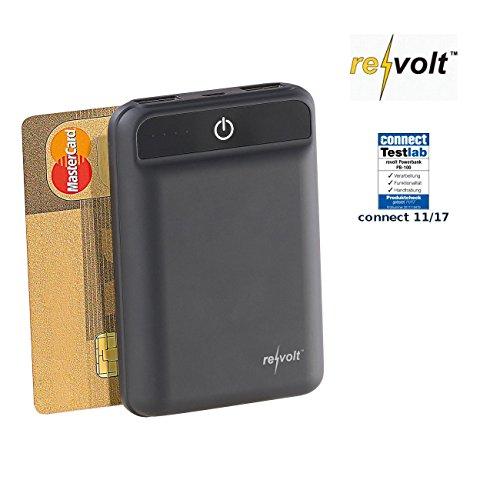 reVolt Micro Powerbank: Powerbank im Kreditkartenformat, 10.000 mAh, 2 USB-Ports, 2,4 A, 12 W (Powerbank für Smartphone)
