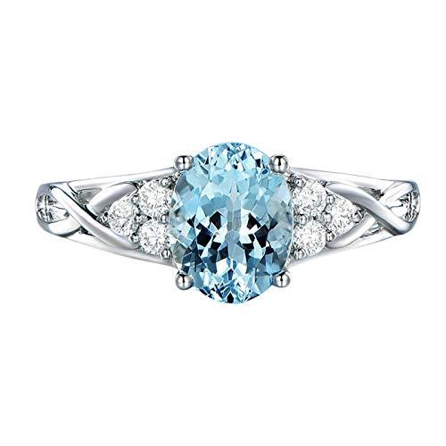 Bishilin Oro Blanco 18K Anillos de Boda para Mujer Azul Claro Aguamarina de Forma Ovalada de 1.3Ct Diamantes de 0.15Ct Azul Plateado Anillo de Matrimonio de Compromiso Talla:8