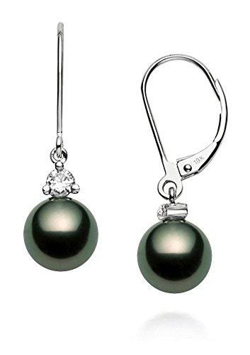 Orecchini pendenti a monachella in oro bianco 18 carati di qualità AAA, con perle coltivate di Tahiti e Oro bianco, colore: Nero/argento, cod. P-2910-TH-WG-110