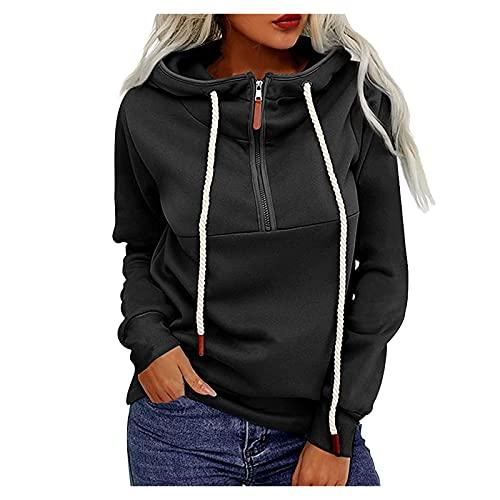 Alueeu Sudaderas Mujer con Capucha Camiseta Manga Larga Túnica Suéter con Cremallera Casual Tops Shirt Blusas Pullover Hoodie Otoño y Invierno