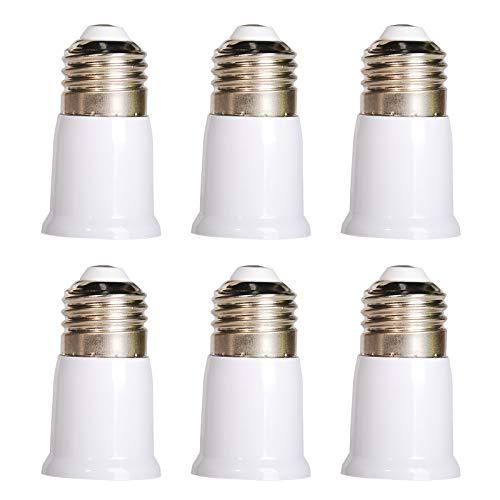 OeyeO E27 - Adaptador de base de extensión, E27 a E27, adaptador para casquillo de lámpara estándar, paquete de 6