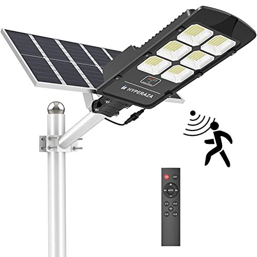 Solar Street Light, Hyperaza 400W Solar Flood Light Outdoor Motion Sensor Dusk to Dawn Solar Light with Remote Control IP66 Waterproof for Parking Lot, Stadium, Garden(Bright White)